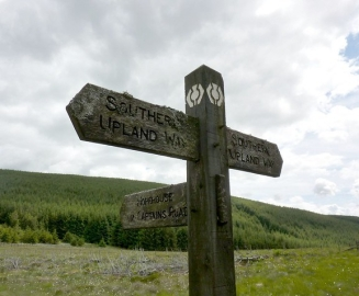 Weathered Southern Upland Way signpost