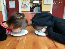 The day the kids decided to be cats - they had a saucer of milk for breakfast